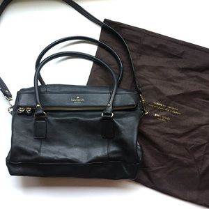 Kate spade medium black fold top tote/satchel